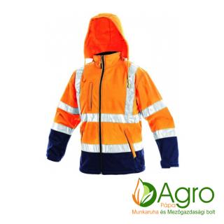agro-munkaruha-es-mezogazdasagi-bolt-papa-CXS Derby softshell jól láthatósági kabát, narancssárga-kék