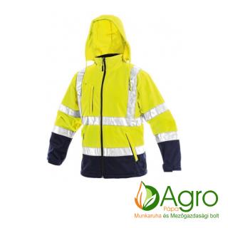 agro-munkaruha-es-mezogazdasagi-bolt-papa-CXS Derby softshell jól láthatósági kabát, sárga-kék