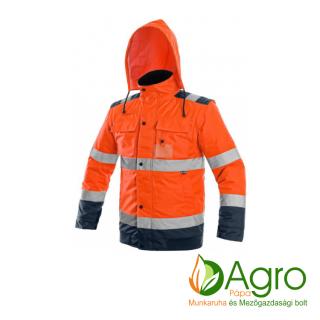 agro-munkaruha-es-mezogazdasagi-bolt-papa-CXS Luton 2in1 bélelt jól láthatósági kabát, narancssárga-kék