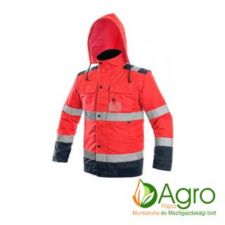 agro-munkaruha-es-mezogazdasagi-bolt-papa-CXS Luton 2in1 bélelt jól láthatósági kabát, piros-kék